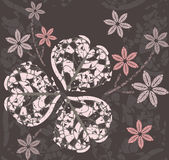 Abstract pattern with decorative clover leaves and flowers Royalty Free Stock Photo