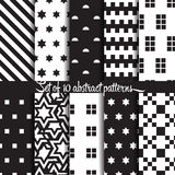 Abstract pattern. 10 different vector patterns. Endless texture can be used for wallpaper, pattern fills, web page background,surface textures. Set of monochrome Royalty Free Stock Image
