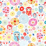 Abstract pattern with dolls. Abstract seamless pattern with bright colored dolls on white background Royalty Free Stock Photography