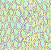 Abstract pattern, ethnic style, stylish background, lilac and yellow color line, isolated on turquoise background. Vector hand drawn illustration Royalty Free Stock Photos