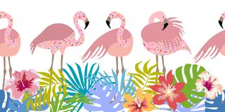Seamless vector border with flamingos and tropical flowers. Royalty Free Stock Photography