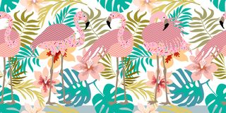 Seamless vector border with flamingos and tropical flowers. Royalty Free Stock Photos