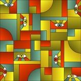 Open eyes bauhaus geometric seamless pattern. Interior vector design.