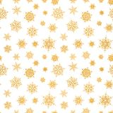 Abstract pattern of falling snowflakes. Seamless pattern of falling golden snowflakes on white background. Elegant pattern for banner, greeting, Christmas and Stock Photo