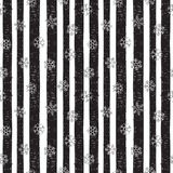 Abstract pattern of falling snowflakes. Seamless pattern of falling silver snowflakes on grunge striped background. Scribble pattern for banner, greeting Royalty Free Stock Photos