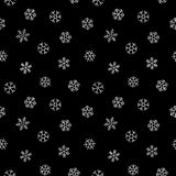 Abstract pattern of falling snowflakes. Seamless pattern of falling silver snowflakes on black background. Elegant pattern for banner, greeting, Christmas and Stock Image