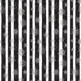 Abstract pattern of falling snowflakes. Seamless pattern of falling silver snowflakes on grunge striped background. Scribble pattern for banner, greeting Stock Photos