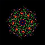 Abstract, pattern, fractal, blue, flower, illustration, pink, mandala, graphic, decorative, purple, digital, christmas, green, psy. Floral Arabesque on black royalty free illustration