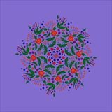 Abstract, pattern, fractal, blue, flower, illustration, pink, mandala, graphic, decorative, purple, digital, christmas, green, psy. Floral Arabesque on black stock illustration