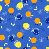 Abstract pattern with fruit 2. Abstract bright pattern with oranges and lemons, fruit background Stock Image