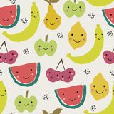 Abstract pattern with fruits in scandinavian style. Collage art. Vector illustration royalty free illustration