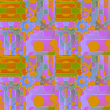 Abstract pattern with gear wheals and circles violet orange purple green ocher Stock Photos