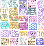 Abstract pattern of geometric shapes freehand drawing Stock Photo