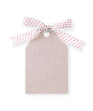 Abstract pattern gift tag with red dot ribbon(with clipping path Royalty Free Stock Image