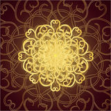 Abstract pattern. Gold patterns on a brown background royalty free illustration