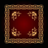 Abstract pattern with golden floral ornaments Stock Image