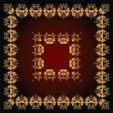 Abstract pattern with golden floral ornaments Stock Photo