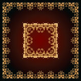 Abstract pattern with golden floral ornaments Royalty Free Stock Image