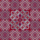 Abstract pattern with grey flowers on red Royalty Free Stock Photos