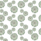 Abstract  pattern with hand drawn green flowers. Used for textile, wrapping paper, wallpaper, scrap booking, background for. Used for textile, wrapping paper Stock Illustration