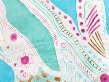 Abstract pattern on handmade silk batik Stock Photography