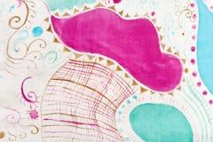 Abstract pattern on handmade silk batik Royalty Free Stock Images