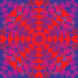 Abstract pattern of hearts arranged in a circle on blue background. For Valentine's Day royalty free illustration