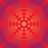 Abstract pattern of hearts arranged in a circle on purple background. For Valentine's Day vector illustration