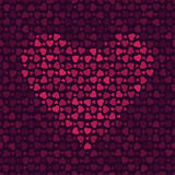 Abstract pattern with hearts on dark background. Seamless abstract pattern with red hearts on dark background, vector illustration stock illustration