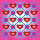 Abstract pattern with hearts and flowers. On pink background royalty free illustration