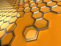 Abstract pattern of honeycombs. 3d rendering of stylized honeycombs Stock Illustration