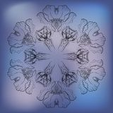Abstract pattern of irises on blue background. In graphic style Stock Illustration
