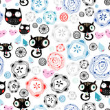 Abstract pattern with kittens and owls Royalty Free Stock Photo