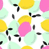 Abstract pattern with lemons. Abstract pattern with fresh colored lemons on white, fruity wallpaper, summer citrus background vector illustration