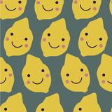 Abstract pattern with lemons in scandinavian style. Collage art. Vector illustration royalty free illustration
