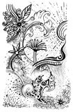 Abstract flower pattern line drawn graphic Stock Photography