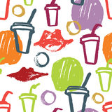 Abstract pattern with lips and cups Hand drawing texture. Colorful abstract pattern with lips and cups Hand drawing texture Stock Image