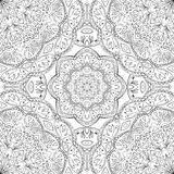 Abstract pattern of mandalas. Oriental seamless pattern of mandalas. Vector black and white background. Template for textile, carpet, shawl Royalty Free Stock Image