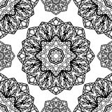Abstract pattern of mandalas. Oriental seamless pattern of mandalas. Vector black and white background. Template for textile, carpet, wallpaper, shawl Stock Photos