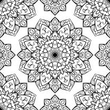 Abstract pattern of mandalas. Oriental seamless pattern of mandalas. Vector black and white background. Template for textile, carpet, wallpaper, shawl Stock Photography