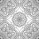 Abstract pattern of mandalas. Oriental seamless pattern of mandalas. Vector black and white background. Template for textile, carpet, wallpaper, shawl Stock Photo
