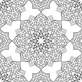 Abstract pattern of mandalas. Oriental seamless pattern of mandalas. Vector black and white background. Template for textile, carpet, wallpaper, shawl Royalty Free Stock Images