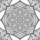 Abstract pattern of mandalas. Oriental seamless pattern of mandalas. Vector black and white background. Template for textile, carpet, wallpaper, shawls Royalty Free Stock Image