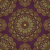 Abstract pattern of mandalas. Oriental seamless pattern of mandalas. Vector rich dark background. Template for textile, carpet, wallpaper, shawls Stock Photo