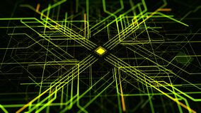 Abstract pattern with microchip circuit board on black background. Animation. Futuristic technological background with