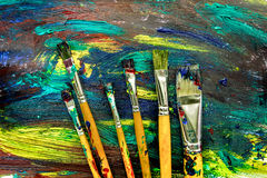 Abstract pattern with multicolored oil paintings with brushes texture royalty free stock image