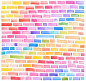 Abstract pattern with multicolored watercolor bricks. Stock Photo