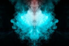 Free Abstract Pattern Of Colored Smoke Backlit Blue And Turquoise In The Shape Of A Mystical-looking Bird Or A Ghost-head On A Black Stock Photos - 136494123
