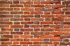 Detailed old red brick wall. Abstract pattern of an old red, orange and black brick  wall with lots of texture useful for backgrounds and wallpapers Royalty Free Stock Image