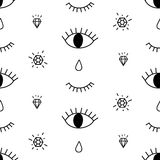 Abstract pattern with open and winking eyes, diamonds, tears. Cute trendy background. Royalty Free Stock Photography